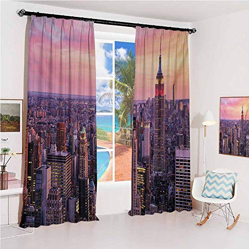 Cityscape Pleated curtains with blackout and lining New York City Midtown with Empire State Building Sunset Business Center Rooftop Photo Used for Living room bedroom with sliding door patio door W52 (Building A Patio Rooftop)