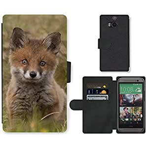 Hot Style Cell Phone Card Slot PU Leather Wallet Case // M99999996 Fox Animal Pattern // HTC One M8