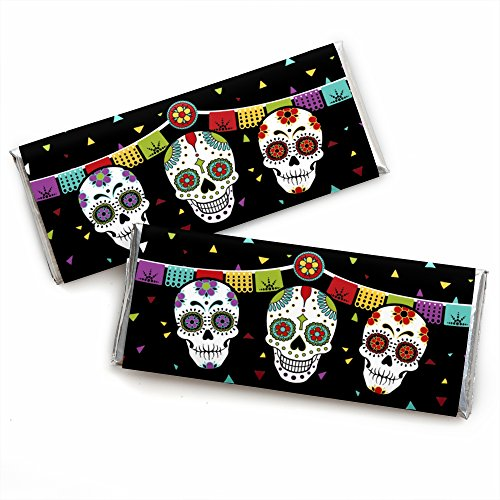 Big Dot of Happiness Day of the Dead - Candy Bar Wrapper Halloween Sugar Skull Party Favors - Set of 24