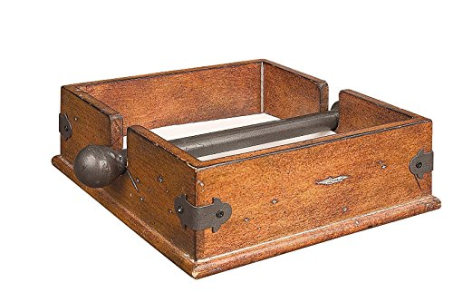 Antique Square Wood Napkin Holder with Metal Bar 9.5 Inch A Beautiful Way To Display Napkins (Brown)