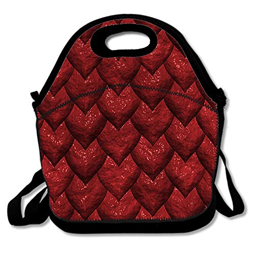 Super Cool Lunch Bags Insulated Travel Picnic Lunchbox Tote Handbag With Shoulder Strap For Women Teens Girls Kids Adults - Rose red blinking hearts -