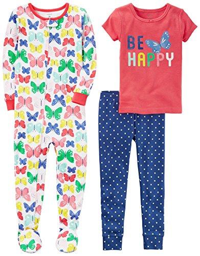 Carters Girls 3 Piece Cotton Pajama