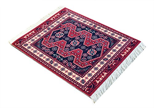 Rug Mouse Pads - Oriental Woven Rug Mouse Pad - Turkish Style Carpet Mousemat - Great Gift (Red-Black)