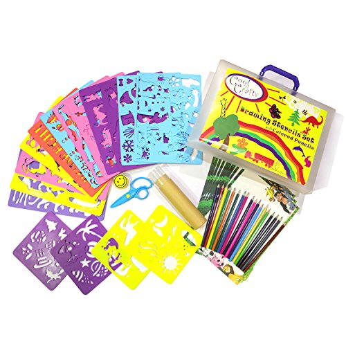 Kids Stencil Set - Drawing stencils with over 250 cute animal and holiday shapes children love - Comes in strong travel case with 18 quality pencils - Arts and craft (Halloween Kindergarten Activity Sheets)