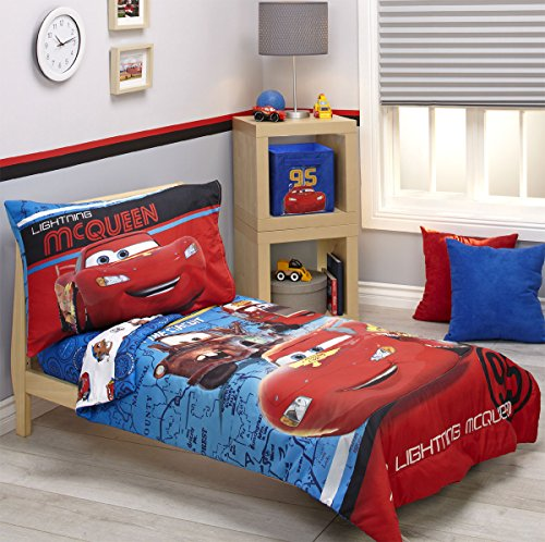 Disney Cars Bedding Set (Disney Cars Team Lightening 4pc Toddler Bed Set)