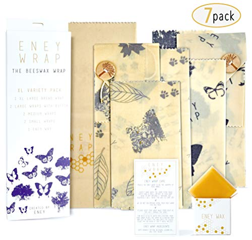 ENEY Premium Organic Beeswax Wraps | 7 Pack Eco-Friendly Reusable Food Wrap | Extra Large Set 1 Bread Wrap, 2 Large with Button and Tie, 2 Medium, 2 Small, Wax Replenisher
