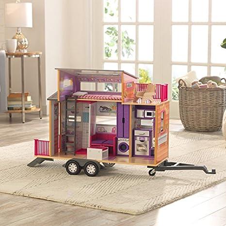 KidKraft 65948 Casa de muñecas de madera Teeny House para muñecas de 30 cm con 10 accesorios incluidos y 2 niveles de juego