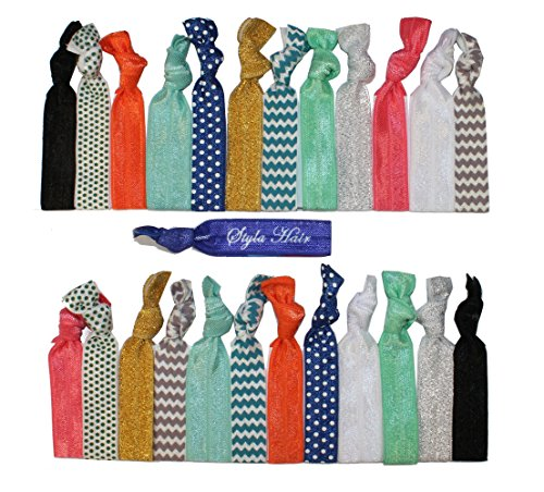 Premium No Crease Ribbon Hair Ties - 25-Pack as Pictured - No Damage or Tug Creaseless Elastic Ponytail Holders - Hair Accessories by Styla Hair (Pop Can Accesories compare prices)