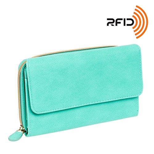 Mundi Womens My Big Fat Safe Keeper RFID Clutch Wallet w/ Calculator (Aqua w/ Gold Accents)