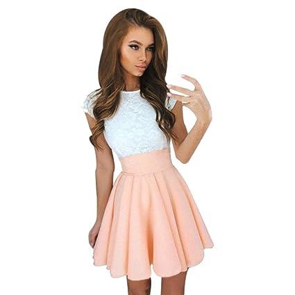 54b9d5e48ce Hot Sale!!!Womens Skirt,Jushye Lace Party Cocktail Mini Skirts Dress Ladies  Short Sleeve Summer Skater Dresses (XL, Khaki Dress)