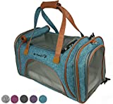Mr. Peanut's Airline Approved Soft Sided Pet Carrier, Low Profile Luxury Travel Tote with Fleece Bedding & Safety Lock, Under Seat Compatability, Perfect for Cats and Small Dogs (Deja Blue)