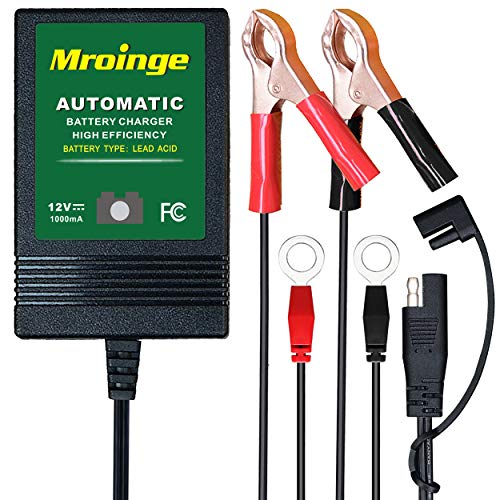 Mroinge MBC010 Automotive Trickle Maintainer 12V 1A Smart Automatic Charger for Car Motorcycle Boat Lawn Mower SLA ATV Wet Agm Gel Cell Lead Acid Batteries (Motorcycle Battery Tender Charger)