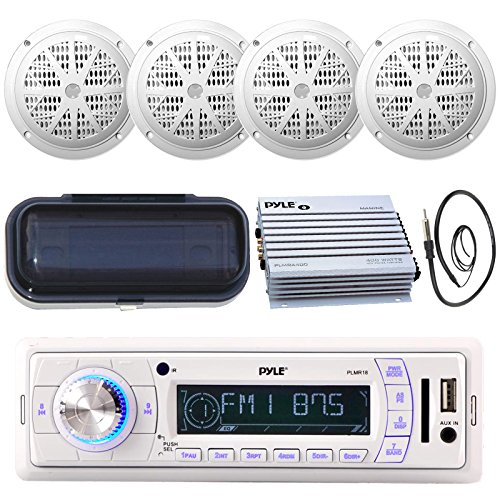 Enrock Pyle PLMR18 200-Watt Marine AM FM SD USB Aux Remote Radio Receiver, and 4 x Pyle PLMR61W 120 Watts 6.5'' Dual Cone Speakers (White), Radio Shield, Antenna,Pyle 4-Channel Waterproof Amplifier ()