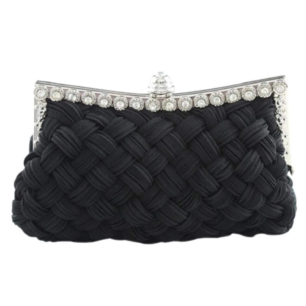 FORTR Home Frauen plissiert geflochtene Strass Clutch Abend Hochzeit Party Handtasche (Farbe   schwarz) B07PZB9JW5 Clutches Bekannt für seine schöne Qualität