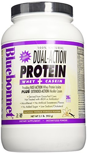 Bluebonnet Nutrition 100% Natural Dual Action Protein Powder Natural French Vanilla Flavor- 2.1 lbs - Powder by Blue Bonnet