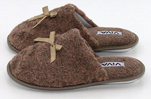 brandsseller - Zapatillas de estar por casa para mujer marrón