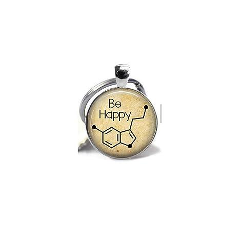 Be Happy - Serotonin Molecule colgante collar o llavero ...