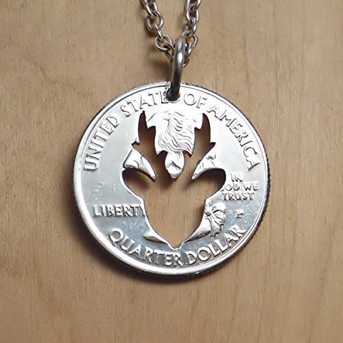 Reindeer Pendant Necklace or Key Ring Made From A Quarter Dollar Coin