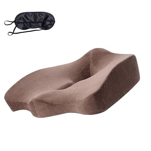 Compuclever - Cojín ortopédico de espuma viscoelástica, asiento para el dolor de espalda, ciática. Alivia el dolor lumbar, cojín de apoyo para la ...