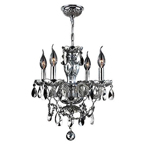 Worldwide Lighting Provence Collection 4 Light Chrome Finish and Chrome Crystal Chandelier 17