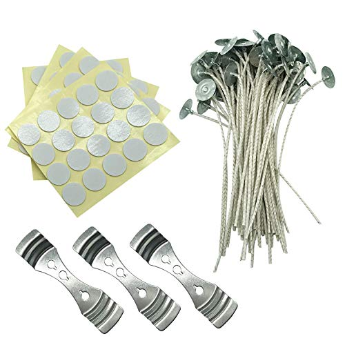 Paper Core Wick - MILIVIXAY Candle Wick Bundle: 100 Candle Wicks, 100 Stickers and 3 Wick Holders - Easy Positioning - Wicks Coated With Natural Soy Wax, Cotton Threads Woven with Paper - Contains No Zinc, Lead or Othe