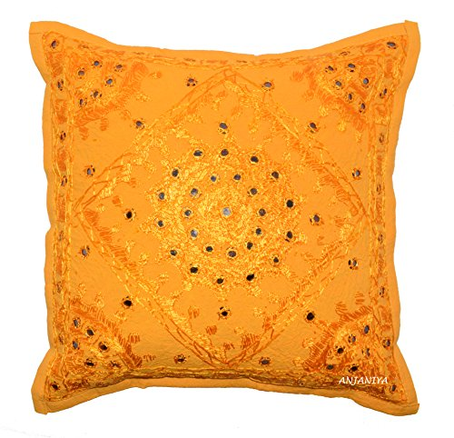ANJANIYA Mirror Embroidered Cushion Cover 16x16 inches Indian Boho Hippie Throw Pillow Cover Decorative Bohemian Hand Embroidery Pillows Cotton Pillow Cases (Yellow, 24 X 24 in. (60 X 60 cm))