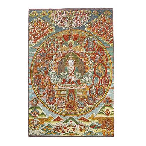 (Prime Feng Shui Silk Embroidery Tibetan Thangka with Kashgari Buddha Wall Hanging for Home Décor Thangka)