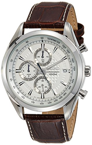 - Seiko Chronograph SSB181 Silver Tone Dial Brown Leather Band Men's Watch