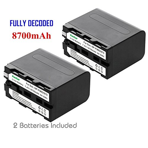Kastar Battery (2-Pack) for Sony NP-F970 NP-F960 F970 F960 F975 F950 and DCR-VX2100 HDR-AX2000 FX1 FX7 FX1000 HVR-HD1000U V1U Z1P Z1U Z5U Z7U HXR-MC2000U FS100U FS700U and LED Video Light by Kastar