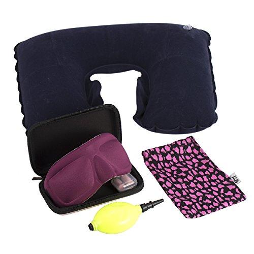 SIBOSUN Luxury Travel Kit Inflatable Neck Pillow 3D Sleep Mask Eye Mask Earplugs Storage Box Airplane ()