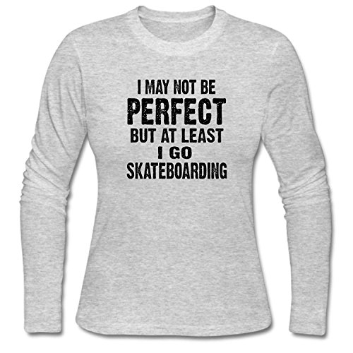 KUYUE Women's I May not Be Unrivalled But at Least I Go Skateboarding T-Shirt