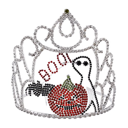 Halloween Rhinestones Crystal Tiara for Women Funny Crown with Comb Silver Plated Hair -