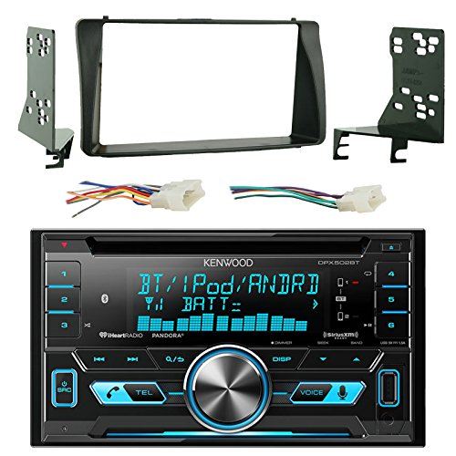 Kenwood DPX502BT Double Din Bluetooth CD MP3 Player Stereo Receiver Bundle Combo With Metra 2-Din installation Dash Kit + Wiring Radio Harness & Wireless Handset For 2003-08 Toyota Corola Car ()