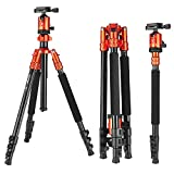 ZOMEI Camera Tripod with Ball Head Professional Portable Magnesium Aluminium Alloy Monopod 4 Section for DSLR Canon Nikon Pentax Sony Orange