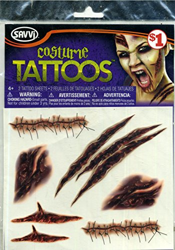 Savvi Costume Tattoos 2 Sheets