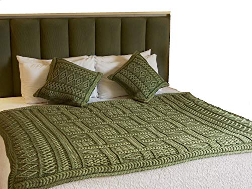 - 100% Irish Merino Wool Aran Plated Throw 2 Tone (Celtic Green Two Tone)