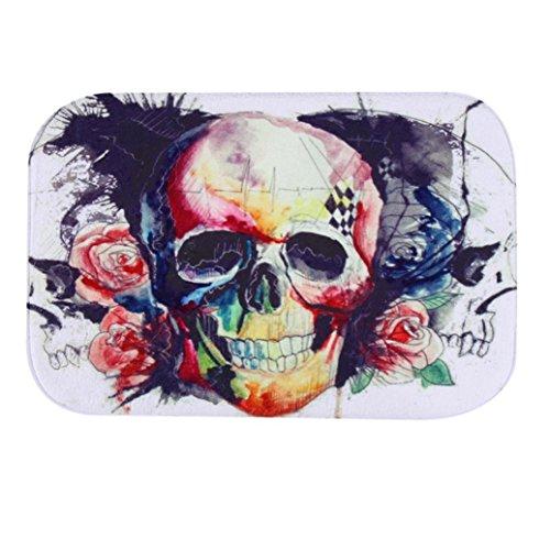 Iuhan Fashion Skull Door Kitchen Carpets Memory Foam Bathroom Absorbent Non-slip Mat (F)