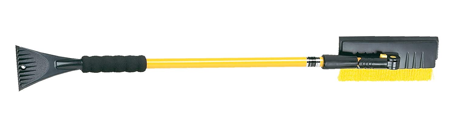 Hopkins 5412PBT SubZero 54' Pivoting Extendable Snowbroom with 8.5' Pivoting Dual Head with Squeegee and Integrated Ice Scraper (Colors may vary) Hopkins Manufacturing