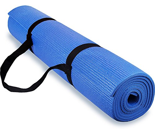 Spoga 1/4-Inch Anti-Slip Exercise Yoga Mat with Carrying Strap, Dark Blue