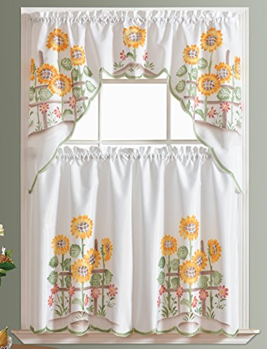 3pcs Kitchen Curtain / Cafe Curtain Set, Air-brushed By Hand of Sunflower Design