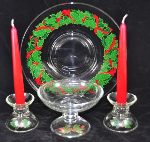 5 PC SET - Avon Holiday Hostess Holly Collection - Merry Christmas Holiday Compote Dessert Server Stand / Candlesticks / Platter