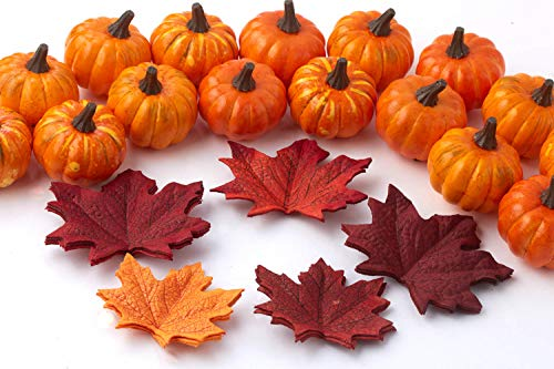 Factory Direct Craft Autumn Mix of Artificial Mini Pumpkins and Colorful Maple Leaves for Fall Wedding Decororations and Home Decor