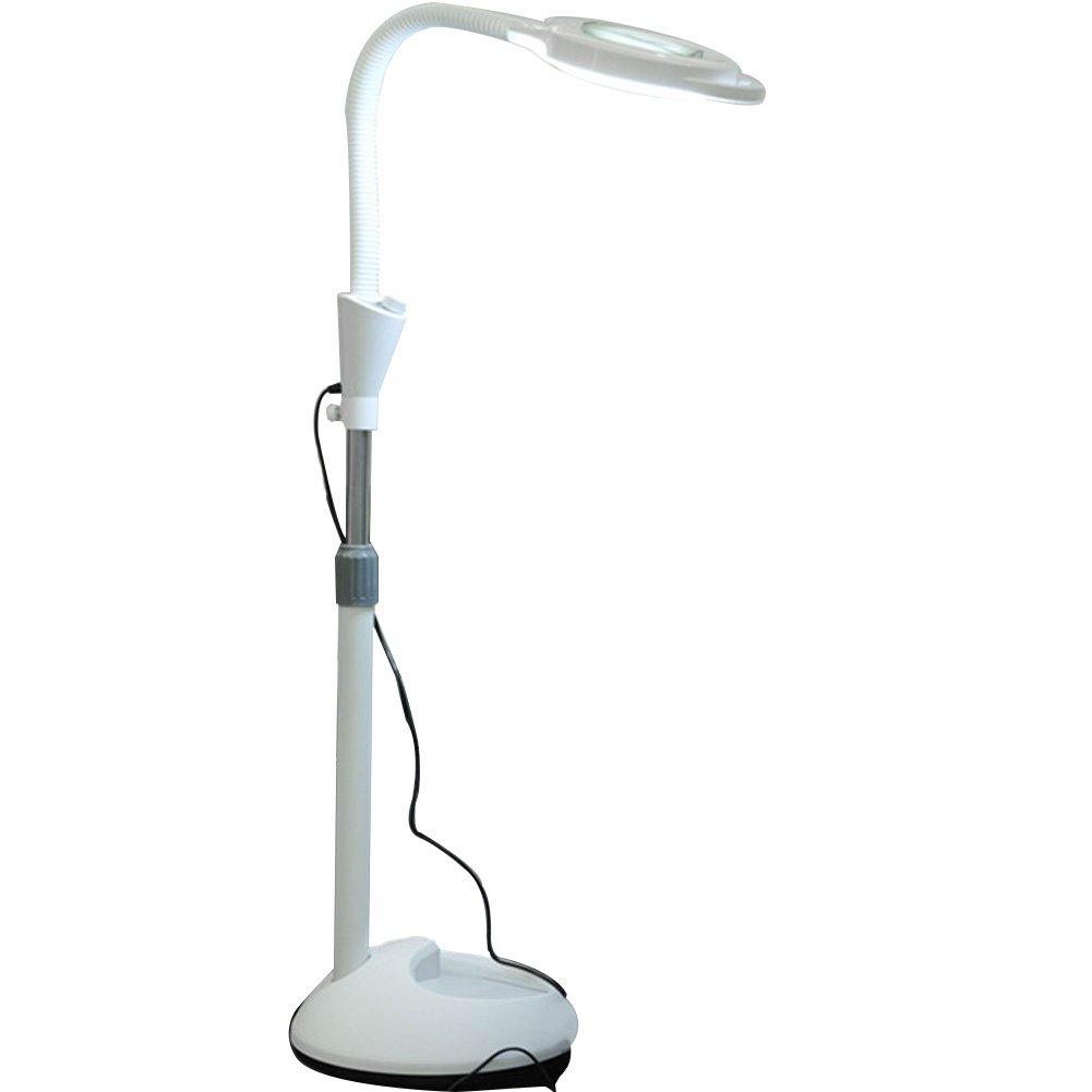 30W LED 8X Magnifier Floor Lamp with 5 Wheels Adjustable Height Magnifying Light for Beauty Salon Jewelry...