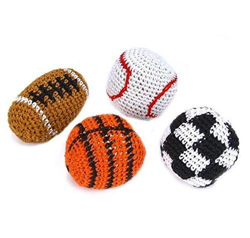 (USA Warehouse) 4 SPORT KICK BALLS WOVEN HACKY SACK FOOT BALLS BAGS HACKEY PARTY FOOTBALL SOCCERITEM#NO: 43E8E-UFE6 - Sports Warehouse Usa