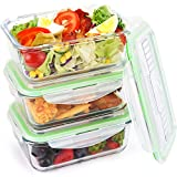 Glass Food Storage Containers Leakproof Meal Prep Lunch Containers Airtight with Locking Lids, Built-in Cutlery Set, Microwave, Freezer, Oven & Dishwasher Safe, BPA Free & FDA Approved (3 Set, 34 oz)