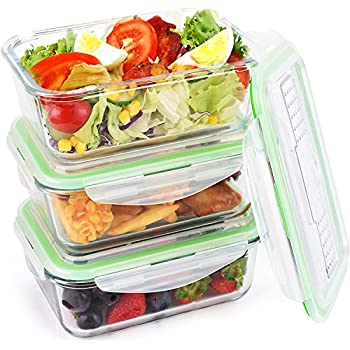 Glass Food Storage Containers Leakproof Meal Prep Lunch Containers Airtight with Locking Lids Built-  sc 1 st  Amazon.com & Amazon.com: Glass Food Storage Containers Leakproof Meal Prep Lunch ...