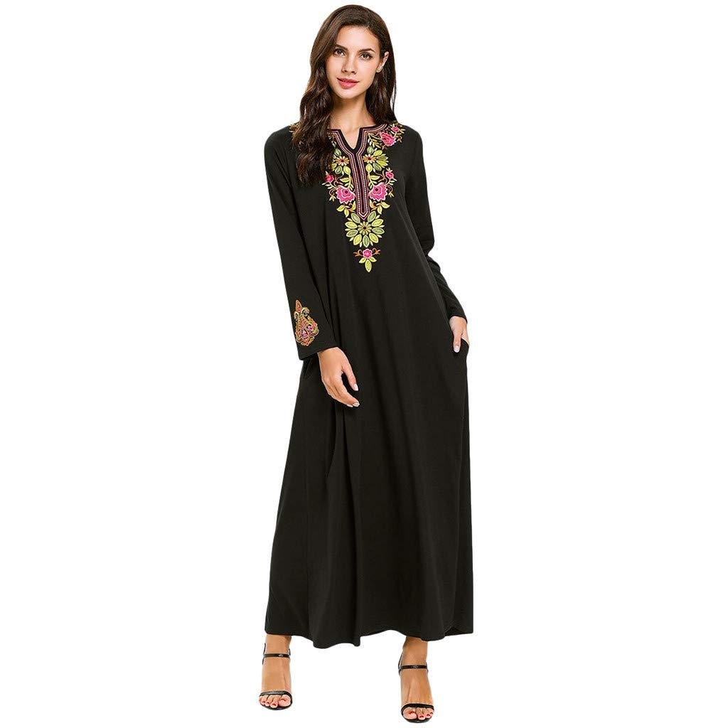 ❤FWD Retro V Neck Women Muslim Islamic Abaya Dress Clothing Printed Flower Lady Black
