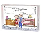 Personalized Friendly Folks Cartoon Snow Globe Frame Gift: New Baby, Twins - Girls Great for baby shower gift, birth announcement, nursery décor, keepsake