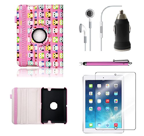 Kindle Fire HDX 8.9 Pink Colorful Cute OWLS Birds Faux Leather Wallet Purse clutch Handbag Case Cover with Clear Slot for ID, Credit Card Slots and Hidden Slot for Cash By DealsEggs®.It includes Screen protector and Stylus but does not include any headset or charger (Cute Kindle Hdx Covers)