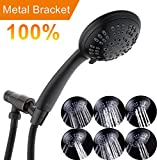 high pressure shower heads bronze - Oil-Rubbed Bronze High Pressure Showerhead Shower Kit 6 Setting Shower Head Handheld with Adjustable Brass Bracket Holder and Extra Long Flexible Stainless Steel Hose